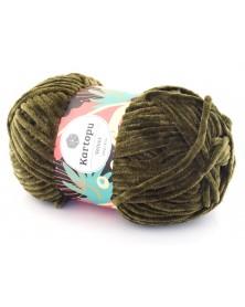 Włóczka Velvet 12 oliwkowy z zieloną nitką