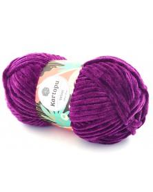 Włóczka Velvet 13 śliwka z fioletową nitką