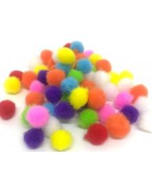 Pomponiki pluszowe akrylowe 100 szt kolor multi