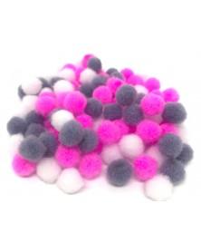 Pomponiki pluszowe akrylowe 100 szt różowo szare