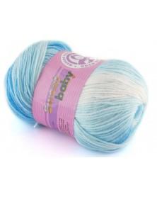 Włóczka Sweet Baby 304 biały z odcieniami niebieskiego
