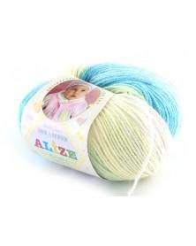 Włóczka Baby Wool Batik kolor 3567 ecru, błęktiny, jasnoturkusowy, waniliowy