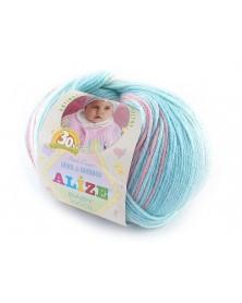Włóczka Baby Wool Batik kolor 3571  biały, niebieski, różowy
