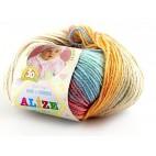 Włóczka Baby Wool Batik kolor 4796 ecru, beżowy, niebieski, łososiowy, przygaszony czerwony
