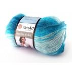 Angora Active kolor 845 odcienie niebieskiego z turkusem i białym