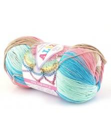 Włóczka Miss Batik kolor 4535 róż beż niebieski