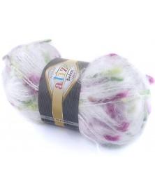 Włóczka Mohair Bohem 5145 biała z fioletem i zielenią