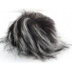 Pompon futrzany z długim włosem kolor czarno biały