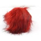 Pompon futrzany z długim włosem kolor ruda czerwień podpalany