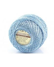 Kordonek Camellia kolor błękitny ze  srebrną nitką  417