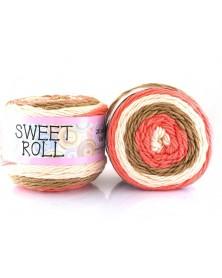 Włóczka Sweet Roll 15 ecru, brąz, koral