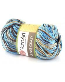 Włóczka Jeans CRAZY 7202 niebieski, brąz, beż