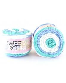 Włóczka Sweet Roll 18 turkus, niebieski, biały