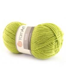 Włóczka Gold Yarn Art kolor zielony z zieloną nitką  35