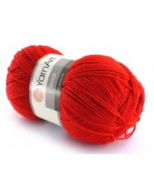 Włóczka Gold Yarn Art kolor czerwony z czerwoną nitką 52 A